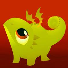 Hungry Little Dragon Karianne Hutchinson Illustration Vector Illustrator reptile gecko lizard art
