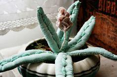 hand stitched textile succulent