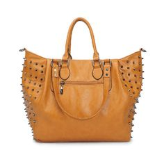 Brown Punk Bag With Spike Embellish To Side ($155) ❤ liked on Polyvore