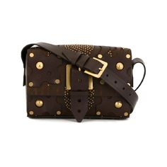 Valentino Garavani Hand Tooled Leather Shoulder Bag With Embellishment In Brown Valentino Purse, Valentino Handbags, Valentino Garavani, Studded Handbags, Studded Purse, Brown Handbags, Calf Leather, Leather Shoulder Bag, Shoulder Strap