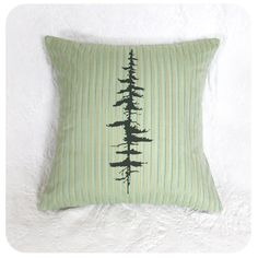 Pine Tree Pillow Cover 16 x 16 Inch Green Stripes by Boomerang360 on Etsy