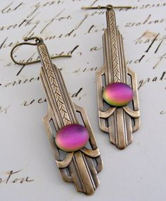 Art Deco Earrings Vintage Brass with Pink by chloesvintagejewelry, $26.00