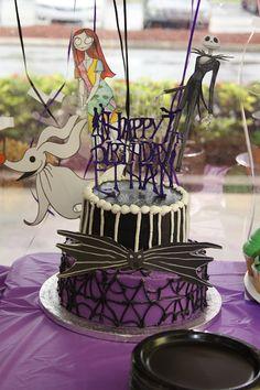 Nightmare Before Christmas kids birthday party cake - Jack and Sally
