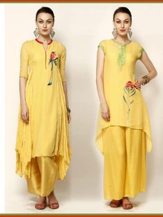 Designer punjabi suit in yellow color.