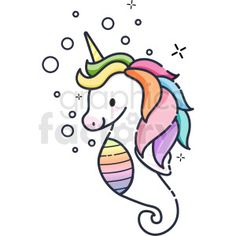 cartoon clipart - You get 82693 royalty-free cartoon vector clip art, illustrations, pictures, and images on Page 53 using Graphics Factory clipart image search. Seahorse Drawing, Unicorn Drawing, Mermaid Drawings, Unicorn Art, Unicorn Sketch, Cartoon Drawings, Easy Drawings, Animal Drawings, Vector Icons