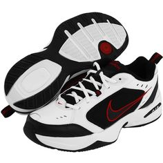 Nike Air Monarch IV (White/Black-Varsity Red) Men's Cross Training... (£40) ❤ liked on Polyvore featuring men's fashion, men's shoes, mens shoes, mens breathable shoes, black white mens dress shoes, mens red shoes and mens pointed shoes