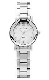 Skagen Steel Collection Mother-of-Pearl Dial Women's Watch #457SSSX Skagen. $155.00. Case Size:  27.5mm Diameter, 7mm Thickness. Precise Japan Quartz Movement. Stainless Steel Case and Band, Push Button Deployment Clasp. Water Resistant - 30M. Mineral Crystal, Swarovski Elements Index, MOP Dial