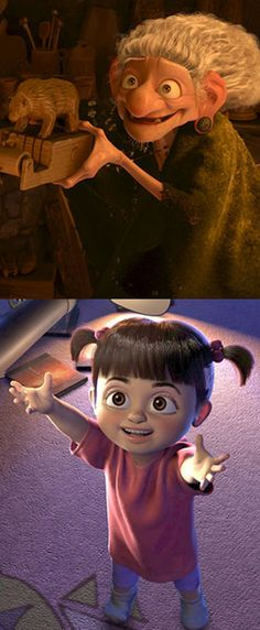 """Is Boo from """"Monsters Inc"""" actually the witch from """"Brave?"""" Click to read this incredibly intricate theory about the Pixar universe.<--- my mind is blown!!"""
