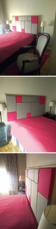 Decoración de dormitorio. Cabecero realizado inspirado en Mondrian. Tapizado con la misma tela de la butaca de Sillas Descarriadas.