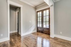 Double door entryway adds character, presents as welcoming, and lets in so much natural light . Door Entryway, Front Door Design, Double Doors, Natural Light, Presents, House Design, Homes, Windows, Elegant