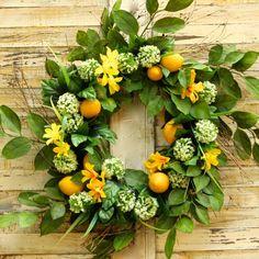 Large Lemon Summer Door Wreath - Lemon Floral Wreath - Summer Door Decor - Ever Blooming Originals - 1