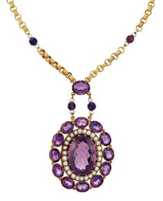 Antique Gold, Amethyst Bead, Seed Pearl, Amethyst and Split Pearl Pendant-Necklace