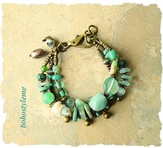 Bohemian Jewelry, Rustic Stone Bracelet, Nature Inspired, Handmade Breaded Bracelet, bohostyleme, Kaye Kraus