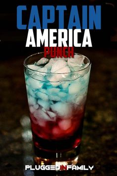 Captain America Punch recipe | For your little superheroes who love their Avengers. Use at your next Marvel party to quench their thirst.