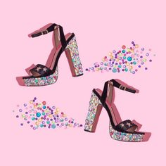Violet Tinder Studios x Betsey Johnson Rainbow Photography, Photography Bags, Still Life Photography, Beauty Photography, Fashion Photography, Pink Martini, Rainbow Shoes, Sparkle Shoes, Shoe Art