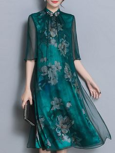 daily dress me Chinese Style Printed Dresses Stylish Dresses, Women's Dresses, Dresses Online, Fashion Dresses, Linen Dresses, Indian Designer Outfits, Designer Dresses, Style Chinois, Daily Dress Me