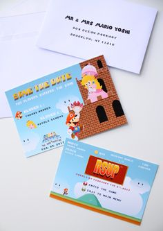 Super Mario wedding invitation Save the Date, Mario and Peach Geek Video games Wedding Stationery, Wedding Nintendo Save The Date - DEPOSIT de la boutique MySweetPaperCard sur Etsy