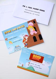 Super Mario wedding invitation Save the Date, Mario and Peach Geek Video games Wedding Stationery, Wedding Nintendo Save The Date - DEPOSIT de la boutique MySweetPaperCard sur Etsy