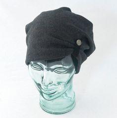 Charcoal Gray Knit Slouchy Hat in Boiled Wool  -- rocksandsalt, etsy