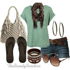 30 Cute, Casual, Stylish Summer Outfits & Dresses For Teens. I like the front outfit but without the scarf Stylish Summer Outfits, Summer Dress Outfits, Cute Summer Dresses, Dresses For Teens, Spring Outfits, Casual Outfits, Fashion Outfits, Summer Clothes, Casual Summer