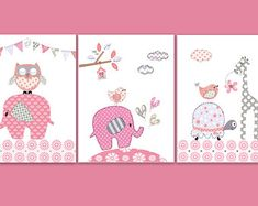 Pink and Gray Nursery Art Prints - Owl and Elephant Nursery Decor - Giraffe, Turtle and Birds - Baby Girl Nurser Pictures Elephant Nursery Art, Elephant Nursery Decor, Baby Elephant, Giraffe, Baby Girl Christening Gifts, Baptism Gifts For Girls, Baby Girl Owl, Baby Girls, Pink And Gray Nursery