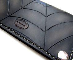 Classic Leather Biker Wallet Black & Grey Web by SanFilippoLeather