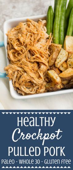 This Healthy Crockpot Pulled Pork recipe is a perfect easy, filling weeknight dinner. Made in the slow cooker with only a few ingredients, it's low in fat, packed with protein, and paleo / Whole30 approved! #healthy #whole30 | whole 30 crockpot meals | paleo crockpot recipe | whole 30 pork recipes | paleo pork recipe | healthy pulled pork