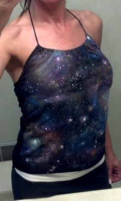 DIY galaxy t-shirt that I turned into a halter top