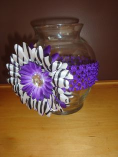 Purple Black Zebra Print Flower Floral Vase  by Sportygrl44, $9.99