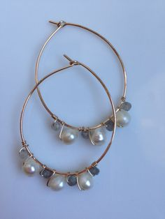 Teardrop Freshwater Pearl and Labradorite 14K Gold Hoops by AmiAbo