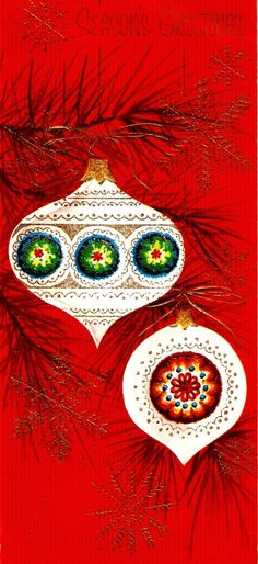 Vintage Christmas Card Pretty Tree Ornaments Pine by PaperPrizes