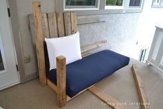 Yes, you can do your own sofa from pallet wood. From Funky Junk Interiors: How I built the pallet sofa (Part Pallet Sectional, Diy Pallet Sofa, Diy Sofa, Recycled Furniture, Pallet Furniture, Outdoor Furniture Sets, Painted Furniture, Book Furniture, Pallet Exterior