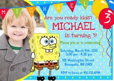 Spongebob Birthday Party Invitation - Printable