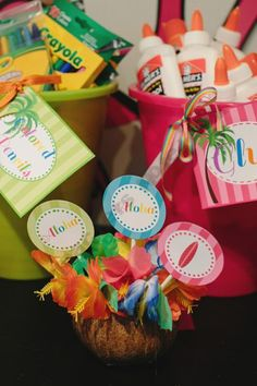 Aloha colored labels for glue, crayon organization: Schoolgirl-Style Shop