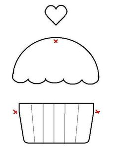 Applique Cupcake Template - maybe for birthdays Felt Crafts, Fabric Crafts, Sewing Crafts, Sewing Projects, Paper Crafts, Template Cupcake, Crown Template, Heart Template, Flower Template