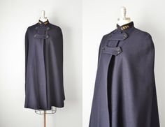Vintage 50s Cape // 1950s Navy Wool Nurse Cape by OffBroadwayVintage