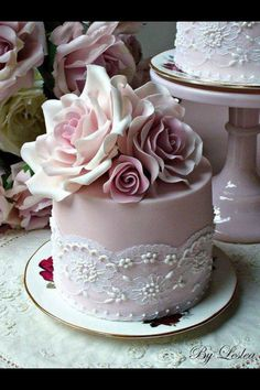 Vintage blush wedding cake
