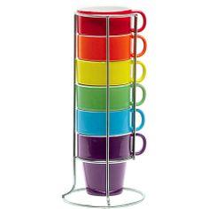 Ceramic rainbow coffee mug set. £11.99 http://www.worldstores.co.uk/p/Present_Time_Cerramic_Rainbow_Assorted_Coffee_Set.htm