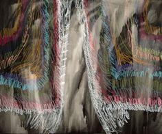 """o.T. (AUS DER SERIE """"VON VORHÄNGEN""""), 2015 Acryl und Wachspastell auf Leinwand, 100 x 120 cm Tie Dye Skirt, Blanket, Skirts, Collection, Fashion, Pastel, Canvas, Moda, Skirt"""