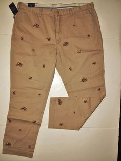 Polo Ralph Lauren equestrian embroidered bed-ford chino pants size 42x32 #PoloRalphLauren #KhakisChinos