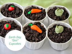 """Dirt Cupcakes- topped off with adorable gum paste """"veggies"""". A perfect treat for Earth Day! Dirt Cupcakes, Garden Cupcakes, Themed Cupcakes, Cupcake Recipes, Dessert Recipes, Desserts, Cooking In The Classroom, Baking With Kids, Earth Day"""
