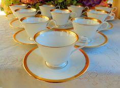 10 Beautiful Lenox Porcelain Cups & Saucers ~ White ~ Gold Encrusted #Lenox