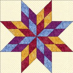 50 States- Missouri Free Star Quilt Block Pattern - this would also be nice for tin punch.