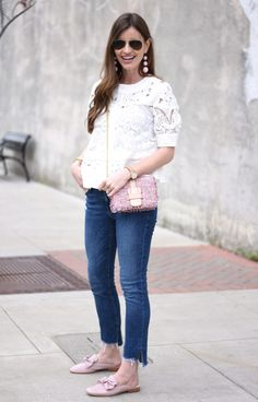 white eyelet top, cropped denim, pink tweed bag, blush pink loafer mules