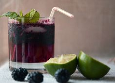 Blackberry Mojitos  Makes 1 Cocktail  Ingredients  - 6 to 8 Blackberries    - 8 Mint Leaves  - 1 ounce Rum  ( I used coconut rum, gotta use what ya got!)  - 1 Tablespoon Sugar  - Juice of half a lime  - A few ice cubes-clear use warm water to make  - 2 to 3 ounces Club Soda  continued on the other post