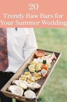 This year a wedding trend has been a raw bar with oysters, sushi, and shrimp. We have combines 20 raw bar inspirational food ideas for your wedding day. Your guests will love this cool reception appetizer! Summer Wedding Menu, Daytime Wedding, Wedding Reception Food, Oyster Crackers, Nautical Wedding Invitations, Carnival Food, Raw Bars, Warehouse Wedding, Wedding Gifts For Bridesmaids