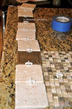 DIY kitchen back splash, bead board on front of cabinet redo