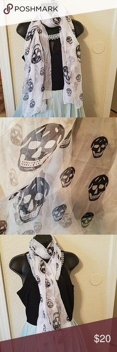 Silky soft Skull Scarf Silky Soft Skull Scarf. Used with normal signs of wear. Tiny holes and snags but not noticeable when wearing Accessories Scarves & Wraps