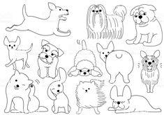 Dog doodle line art set stock vector. Illustration of funny - 105608649 Dog Line Drawing, Cute Dog Drawing, Dog Line Art, Dog Art, Simple Line Drawings, Easy Drawings, Easy Doodle Art, Doodle Art Journals, Doodle Dog