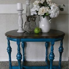 Blue & wooded painted table